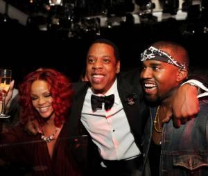 Jay Z (ici avec Rihanna et Kanye West) : le rappeur rachète la marque de champagne français Armand de Brignac