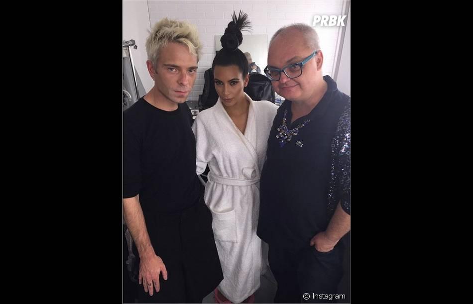 Kim Kardashian pendant le shooting de la cover de Paper Magazine avec Jean-Paul Goude à Paris, septembre 2014