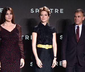 Monica Bellucci, Léa Seydoux et Christoph Waltz à l'annonce de James Bond 24 le 4 décembre 2014
