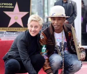 Pharrell Williams et Ellen DeGeneres lors de l'inauguration de l'étoile du chanteur à Hollywood le jeudi 4 décembre 2014