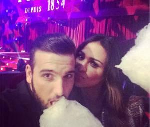 Leila Ben Khalifa et Aymeric Bonnery : couple complice lors d'une soirée au cirque Pinder, le 7 décembre 2014
