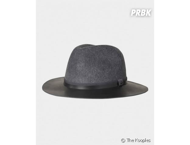 Chapeau gris à rebords en cuir, The Kooples
