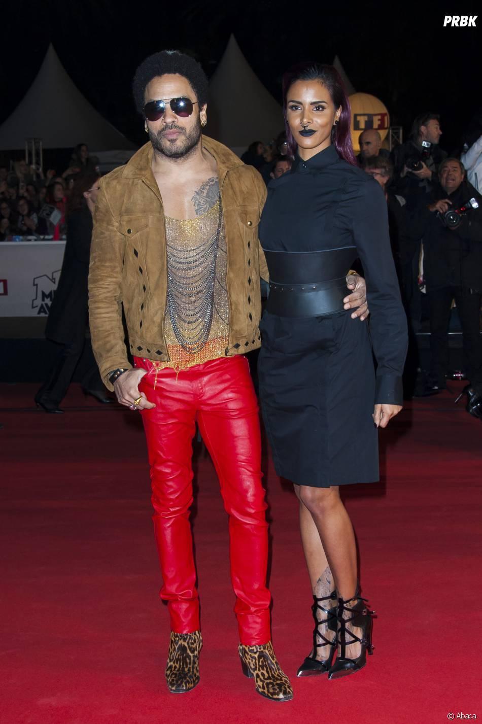 Shy'm et Lenny Kravitz sur le tapis rouge des NMA 2014, le 13 décembre à Cannes