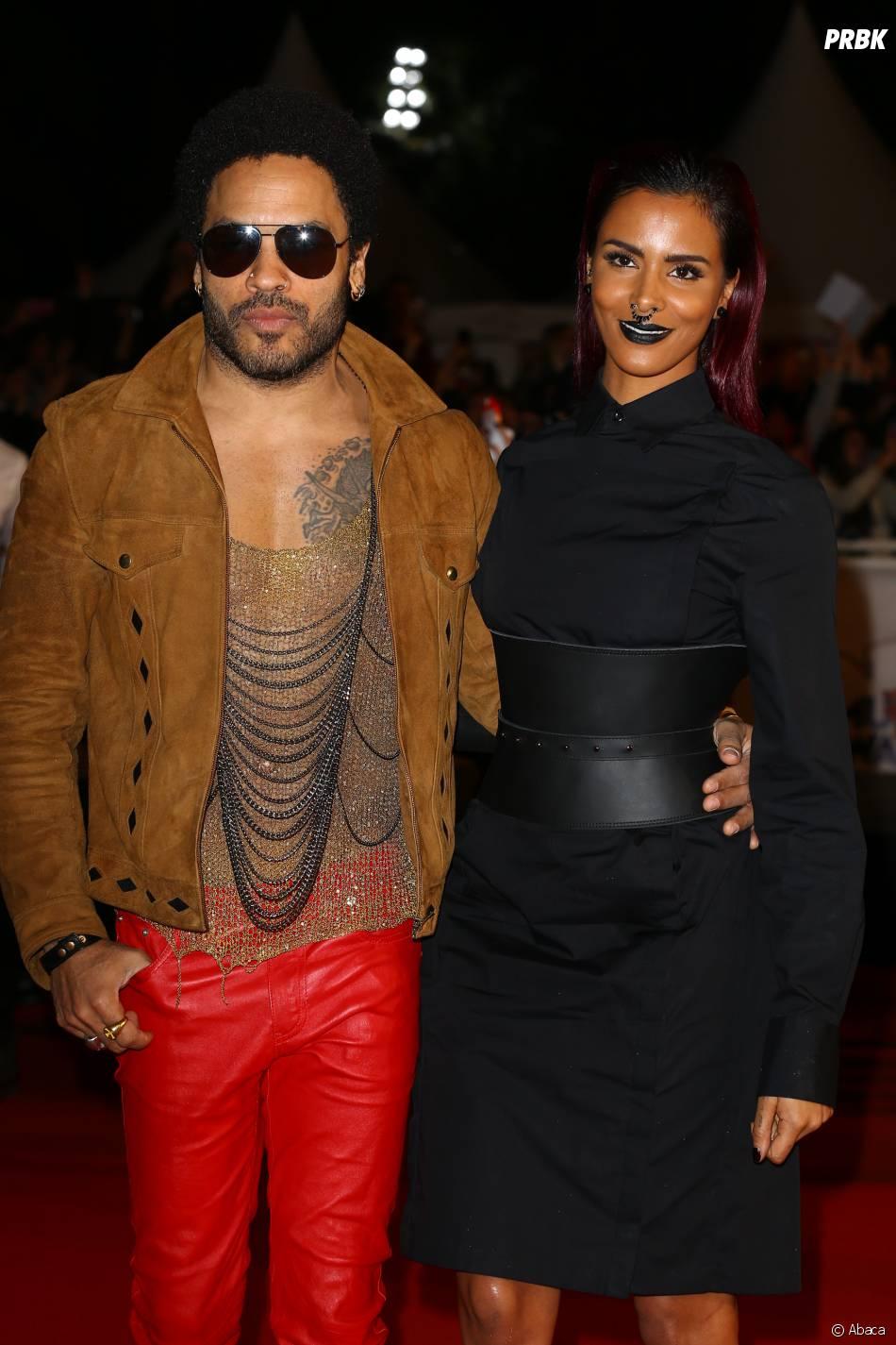 Shy'm et Lenny Kravitz complices sur le tapis rouge des NMA 2014, le 13 décembre à Cannes