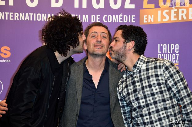 Max Boublil, Gad Elmaleh et Manu Payet à la cérémonie d'ouverture du Festival du film de comédie de l'Alple d'Huez, le 14 janvier 2015