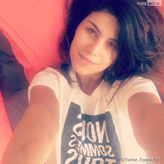 Karine Ferri : selfie au naturel et au saut du lit, le 24 janvier 2014 sur Twitter