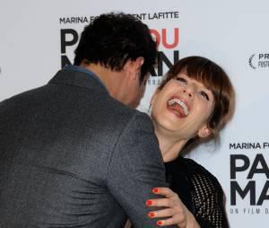 Marina Foïs et Laurent Lafitte assurent le show à l'avant-première de Papa ou Maman, le 26 janvier 2015 à Paris