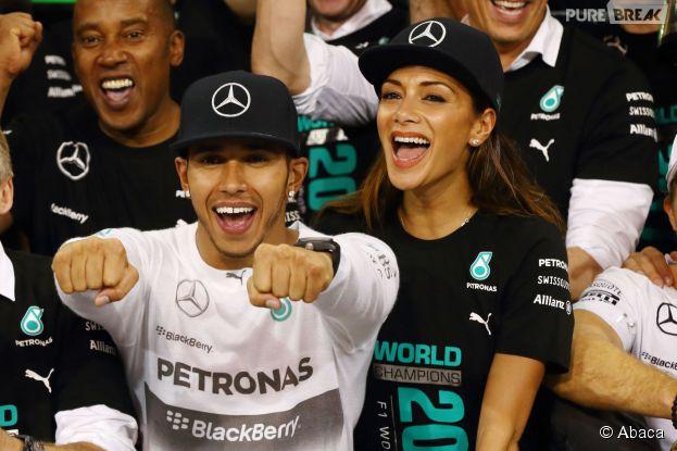 Nicole Scherzinger et Lewis Hamilton heureux, le 23 novembre 2014 à Abou Dhabi