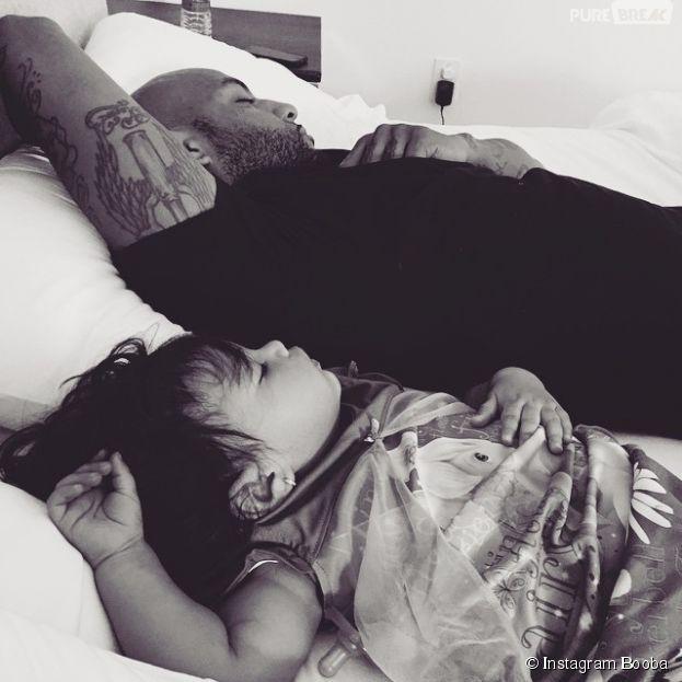 Booba avec sa fille Luna sur Instagram, le 21 mars 2015