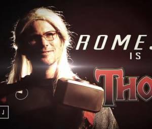 Laurent Romejko dans la peau de Thor, dans la météo d'Alison Wheeler spécial Avengers, le 22 avril 2015, sur Canal +