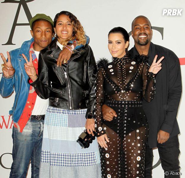 Kim Kardashian, Kanye West, Pharrell Williams et sa femme Helen aux CFDA Fashion Awards, le 1er juin 2015