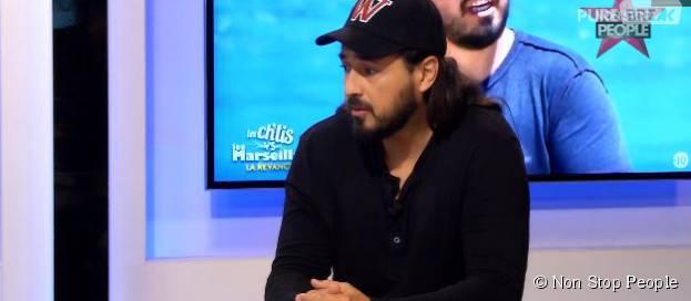Moundir : nouveaux tacles contre Matthieu Delormeau lors du JTT de Non Stop People, le 17 septembre 2015