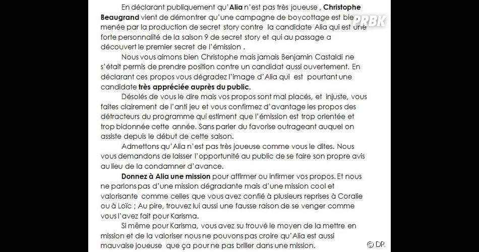 Christophe Beaugrand accusé de boycotté Alia sur Twitter
