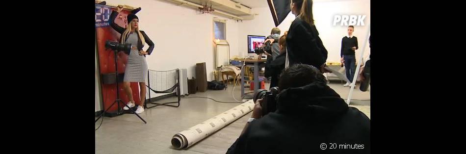 Amélie Neten en plein shooting pour sa marque de vêtements