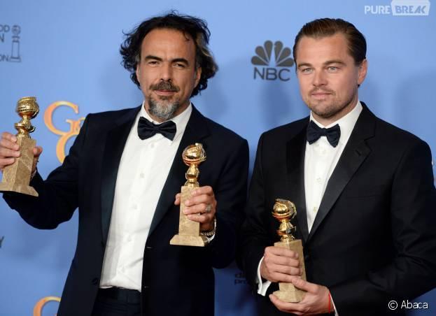 Leonardo DiCaprio et Alejandro Gonzalez Inarritu gagnants aux Golden Globes 2016 le 10 janvier à Los Angeles