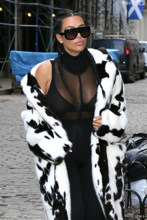 Kim Kardashian transparente et sexy dans les rues de New York, le 10 février 2016