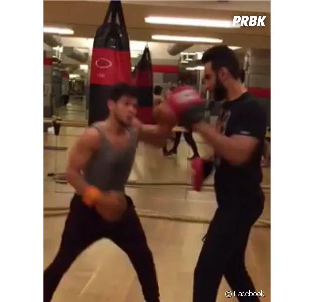Rayane Bensetti et La Fouine en plein entraînement de boxe