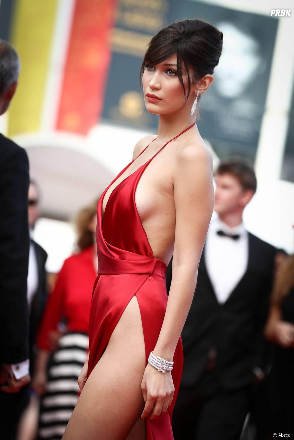 Bella Hadid sur le tapis rouge du Festival de Cannes le 18 mai 2016