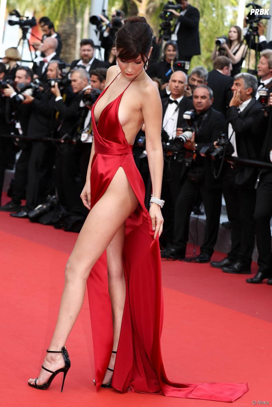 Bella Hadid : sa robe échancrée star du tapis rouge du Festival de Cannes le 18 mai 2016