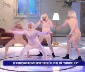 Gil Alma, Olivier Dion, Christophe Licata et Hakim Jemili refont le clip Chandelier de Sia dans Battle Zik sur D17 le mardi 24 mai 2016