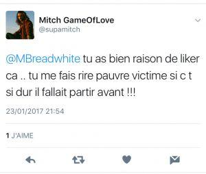 Mitch (The Game of Love) : son message Twitter adressé à Marine