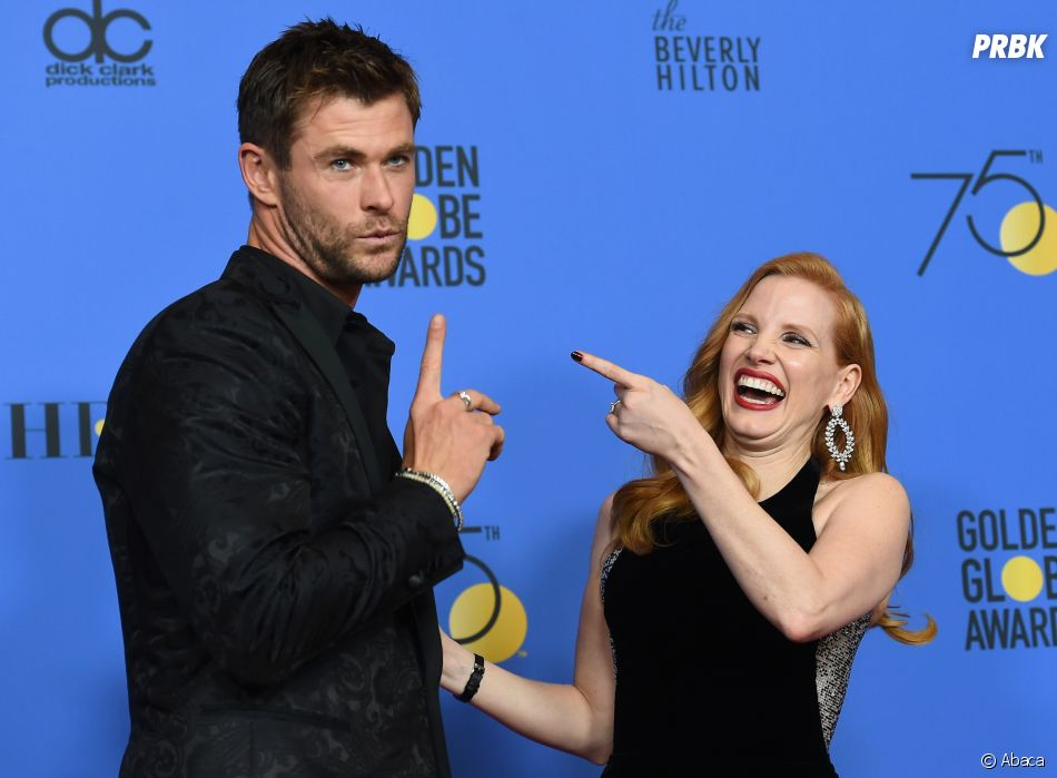Chris Hemsworth et Jessica Chastain aux Golden Globes 2018 le 7 janvier à Los Angeles