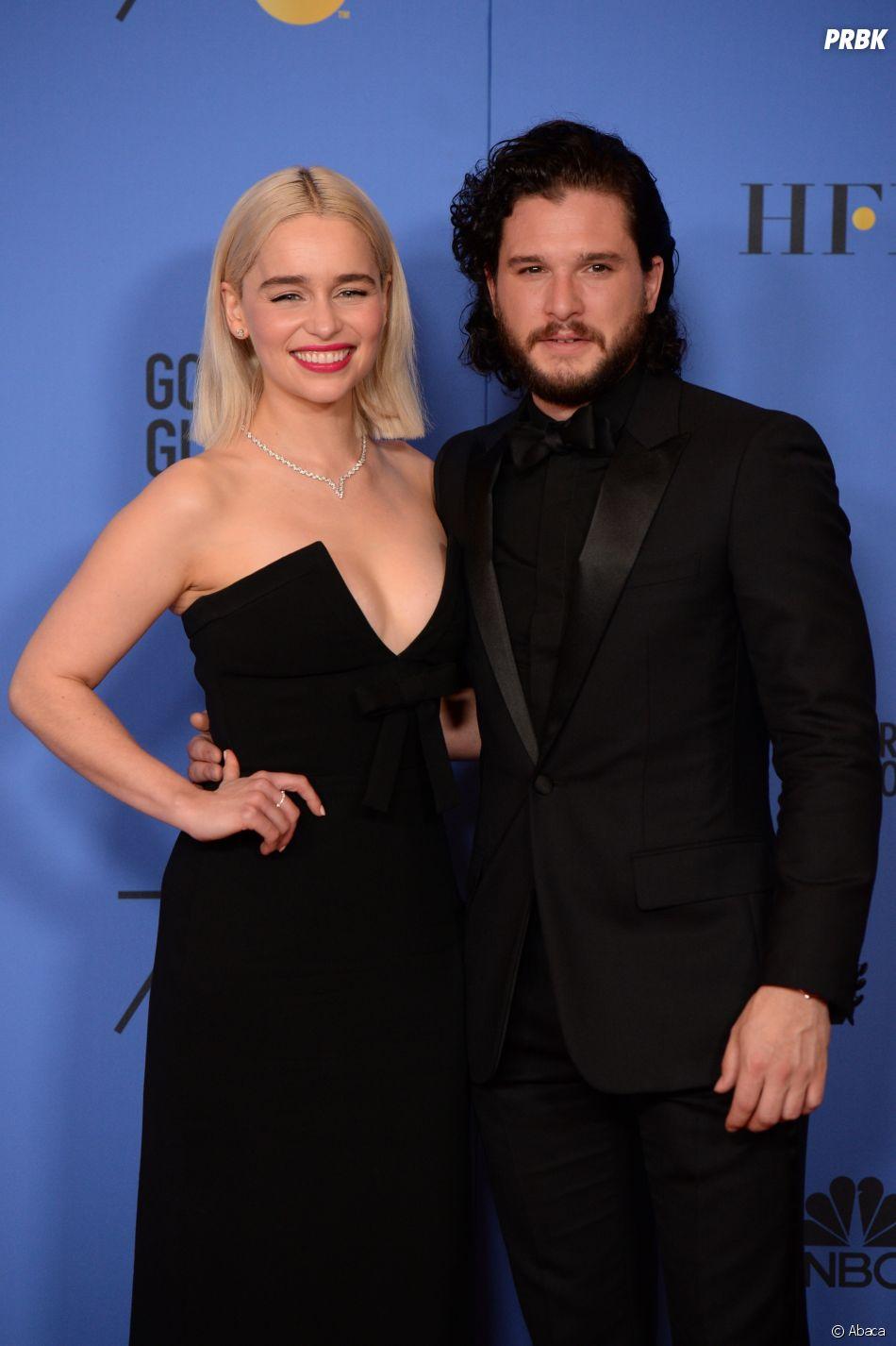 Emilia Clarke et Kit Harrington aux Golden Globes 2018 le 7 janvier à Los Angeles