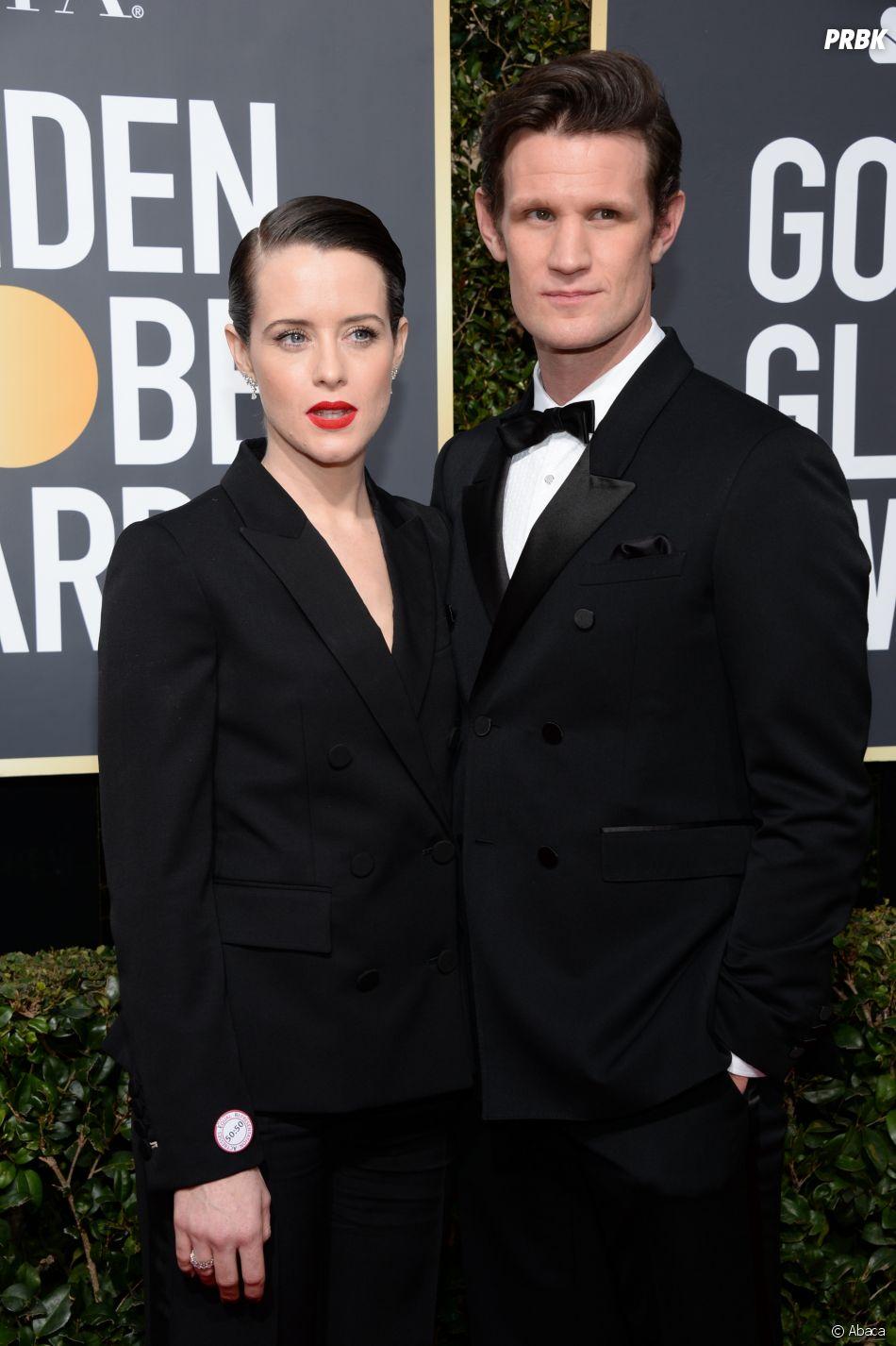 Claire Foy et Matt Smith sur le tapis rouge des Golden Globes 2018 le 7 janvier à Los Angeles