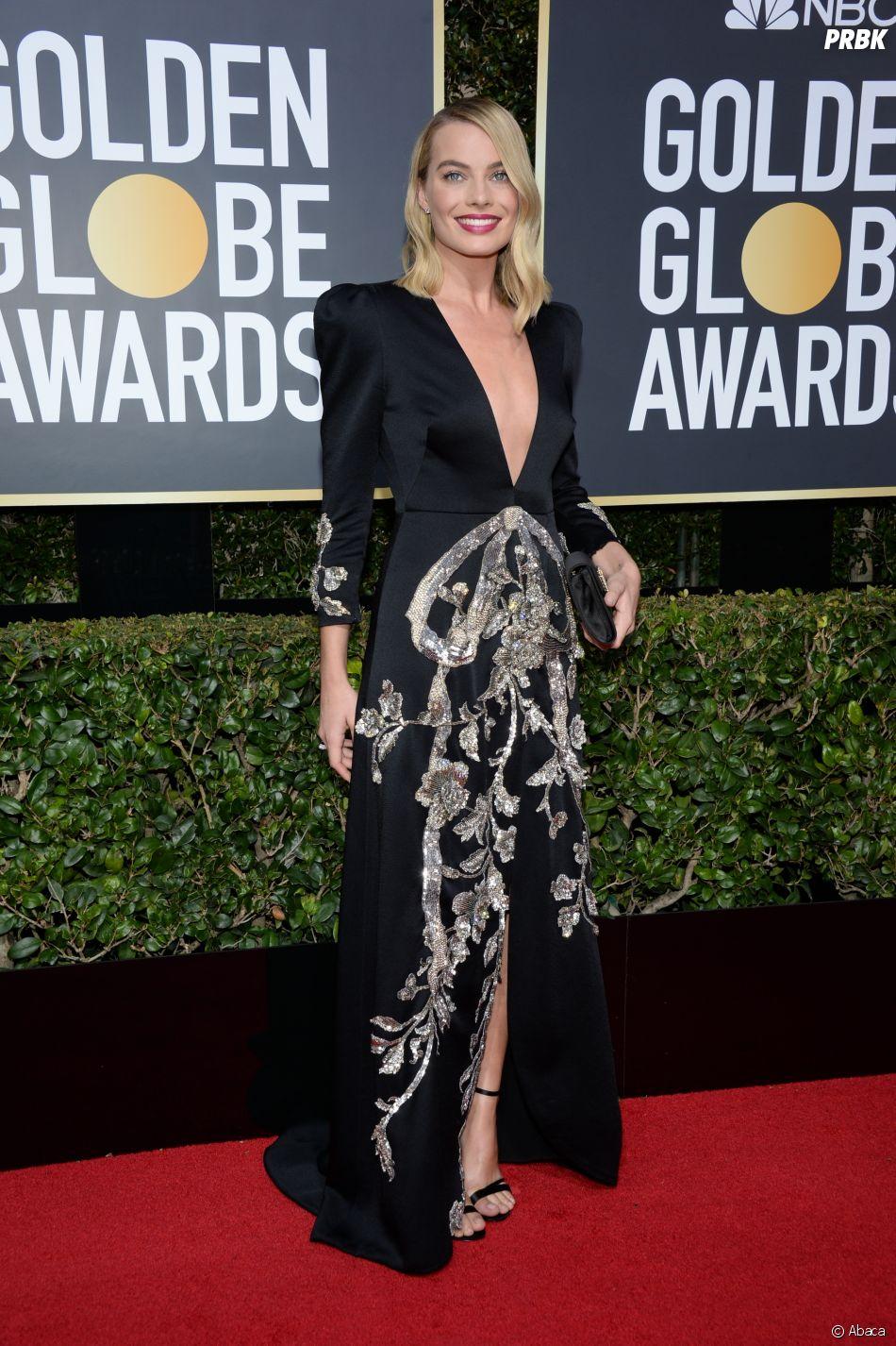 Margot Robbie sur le tapis rouge des Golden Globes 2018 le 7 janvier à Los Angeles