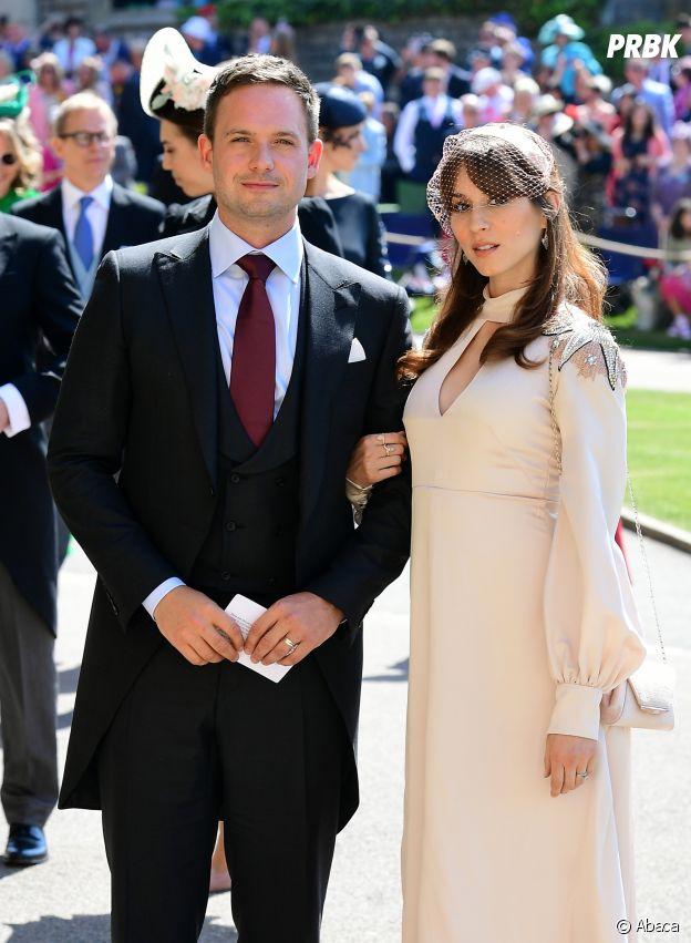 Troian Bellisario et son mari Patrick J. Adams au mariage du Prince Harry et de Meghan Markle le 19 mai 2018