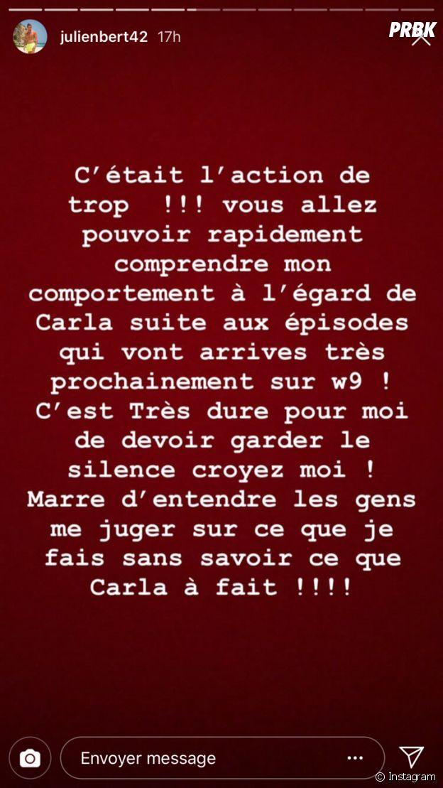 Julien Bert balance sur sa rupture avec Carla Moreau