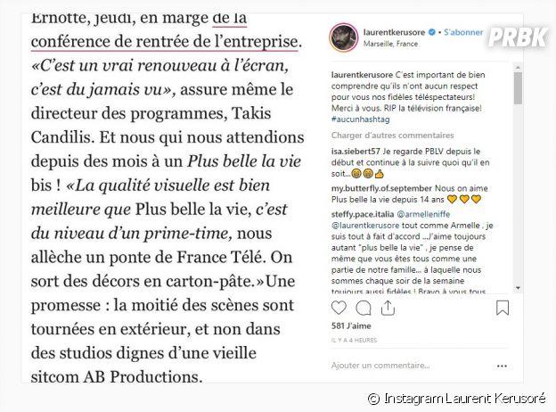 Plus belle la vie critiquée par un dirigeant de France Télévisions, Laurent Kerusoré furieux