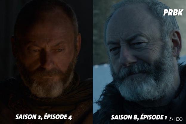 Game of Thrones : Liam Cunningham (Davos) lors de ses débuts dans la série VS aujourd'hui