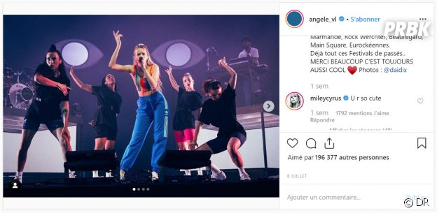 Miley Cyrus valide Angèle sur Instagram