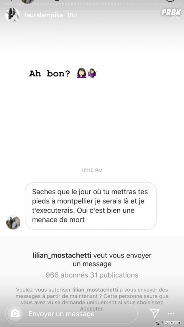 Laura Lempika (Les Marseillais VS Le reste du monde 4) menacée de mort sur Instagram