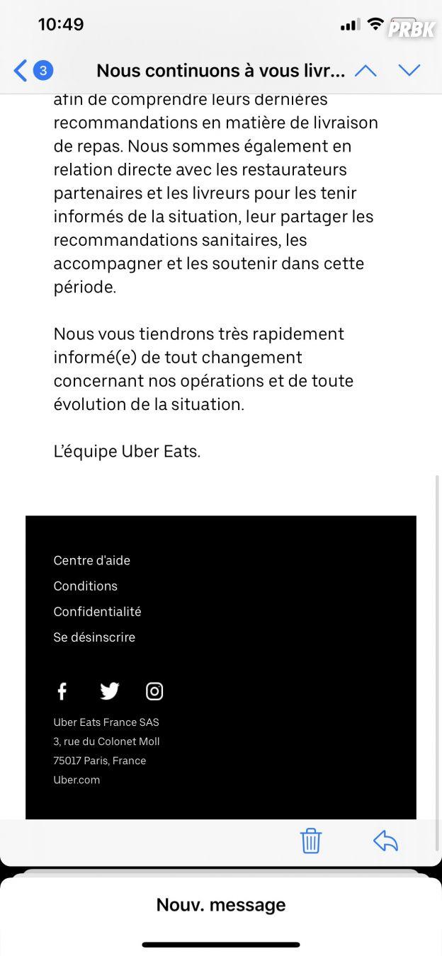 Coronavirus : Uber Eats continue la livraison à domicile