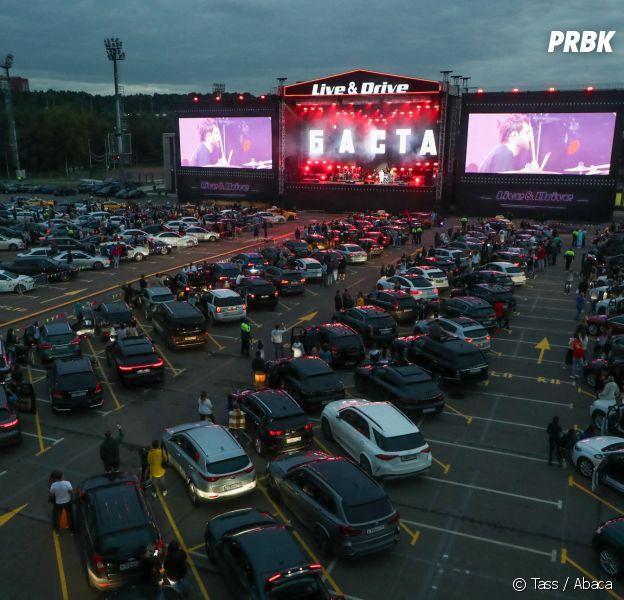 Un concert en drive in à Moscou en juillet 2020