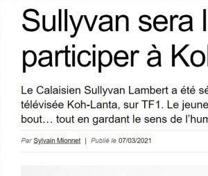 Koh Lanta : l'article de Nord Littoral sur Sullyvan