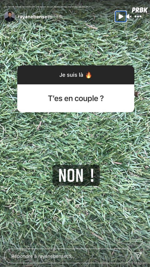 Rayane Bensetti affirme être célibataire en story sur Instagram