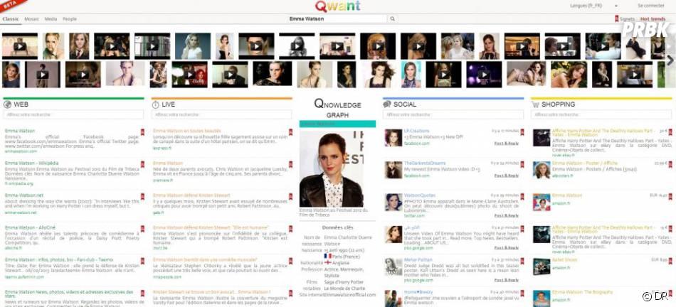 Page de recherches de Qwant