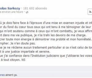 Nicolas Sarkozy réagit sur Facebook