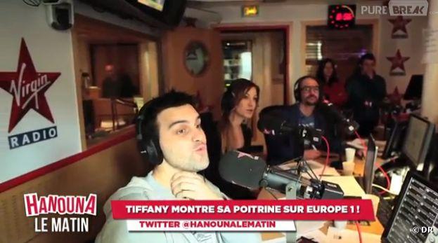 Tiffany Bonvoisin est allée dans les studios d'Europe 1 pour un défi sexy et drôle de Cyril Hanouna