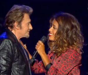 """Johnny Hallyday et Amel Bent à Bercy samedi 15 juin sur le titre """"Je te promets""""."""