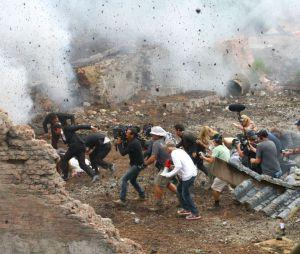 Ambiance explosive sur le tournage de Transformers 4, le 31 juillet 2013 à Detroit