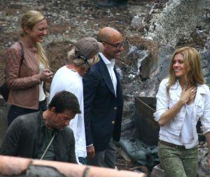 Bonne ambiance entre Mark Wahlberg, Stanley Tucci, Nicola Peltz et Sophia Myles sur le tournage de Transformers 4, le 31 juillet 2013 à Detroit