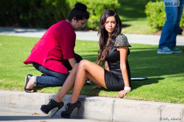 Nabilla Benattia sur le tournage d'Hollywood Girls 3 à Los Angeles le 3 août 2013.