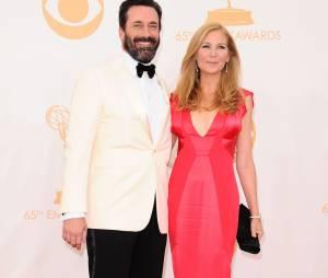 Jon Hamm et son épouse aux Emmy Awards 2013 le 22 septembre 2013 à Los Angeles