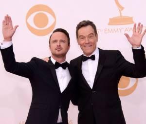 Aaron Paul et Bryan Cranston aux Emmy Awards 2013 le 22 septembre 2013 à Los Angeles