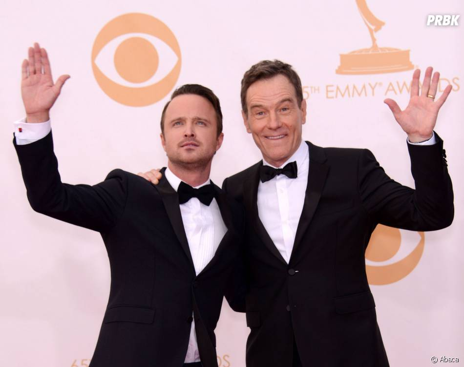 Aaron Paul et Bryan Cranston aux Emmy Awards 2013 le 22 septembre 2013 à Los Angeles
