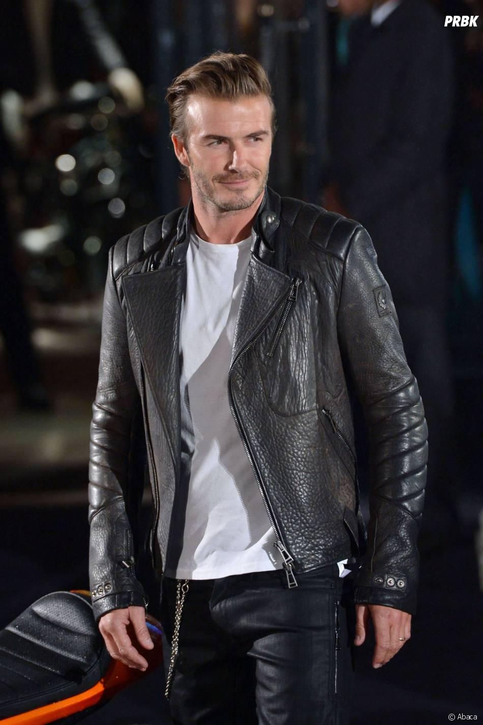David Beckham mannequin de la Fashion Week, le 15 septembre 2013 à Londres